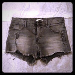 H&M Gray Shorts Frayed Distressed Denim 0 25 4 XS